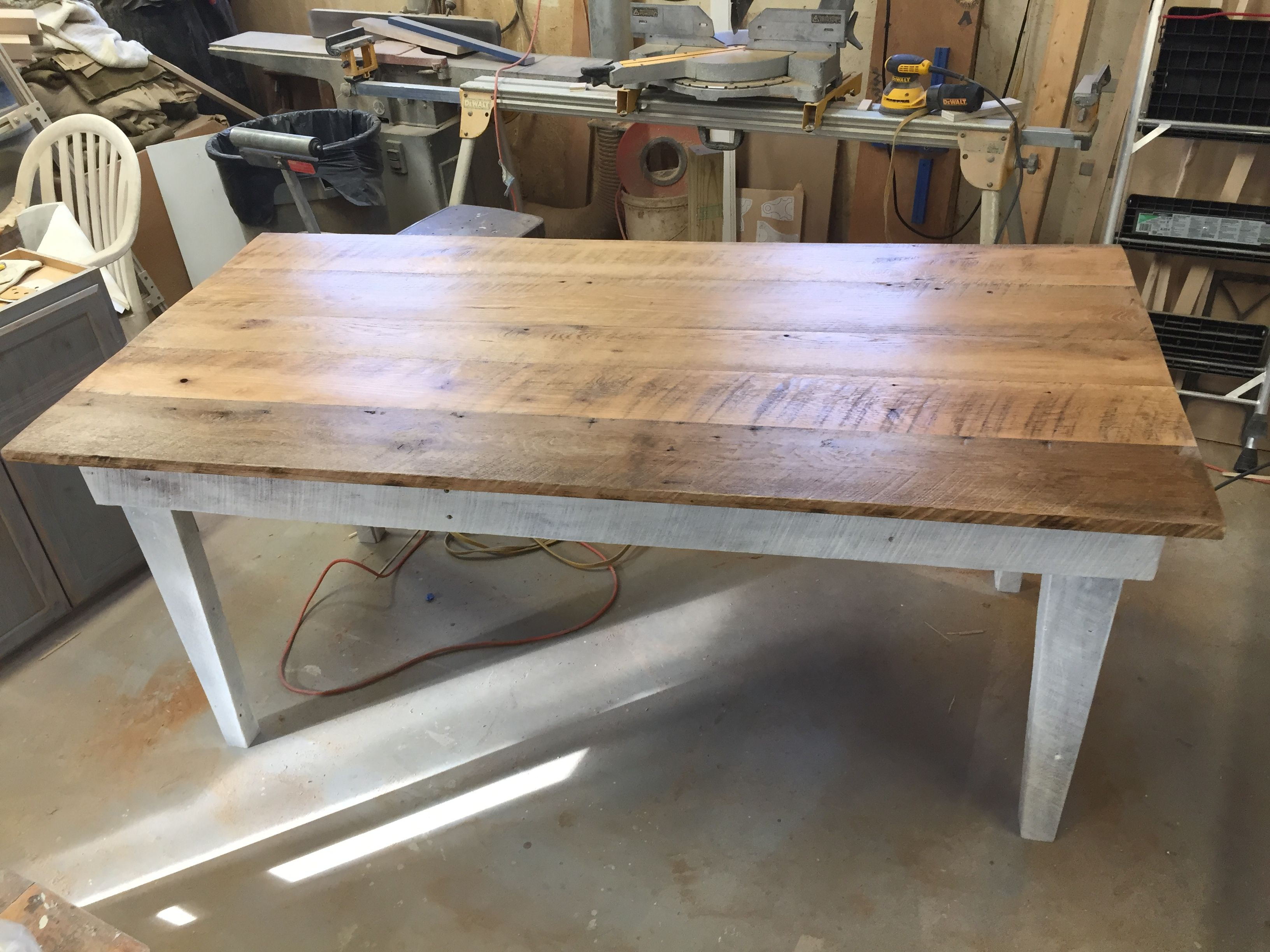 Reclaimed Wood Table White Wash Base Legs Natural Finish On The