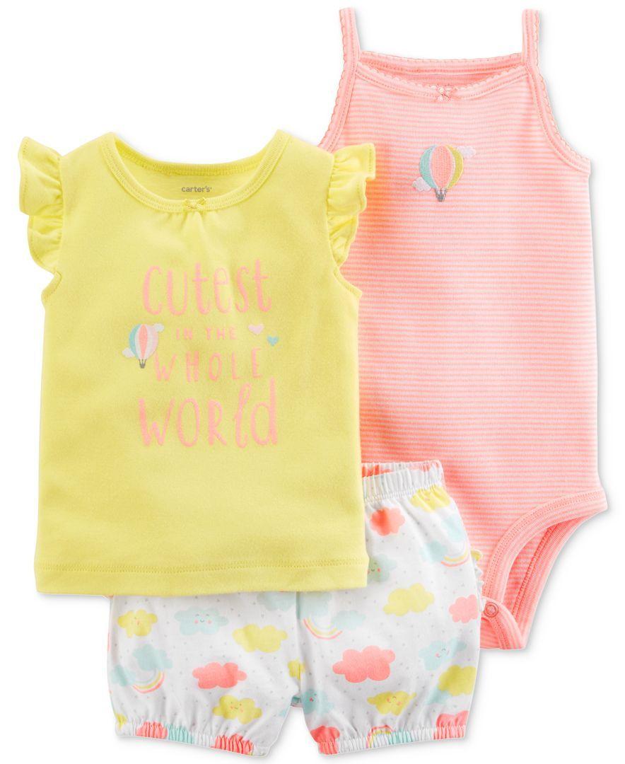 70e3f2130 Carter's 3-Pc. Bodysuit, Shirt & Shorts Set, Baby Girls   Baby ...