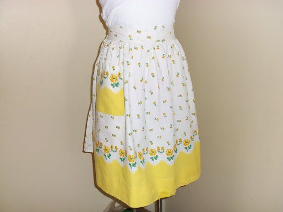 Vintage Yellow Floral Apron by FeathersandDimes on Etsy, $12.00