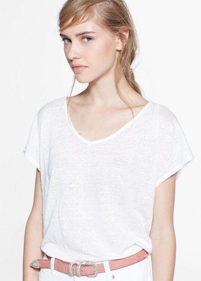 Camiseta lino | MANGO