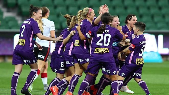 Perth Glory Women Celebrate Caitlin Douglas Opening Goal In The