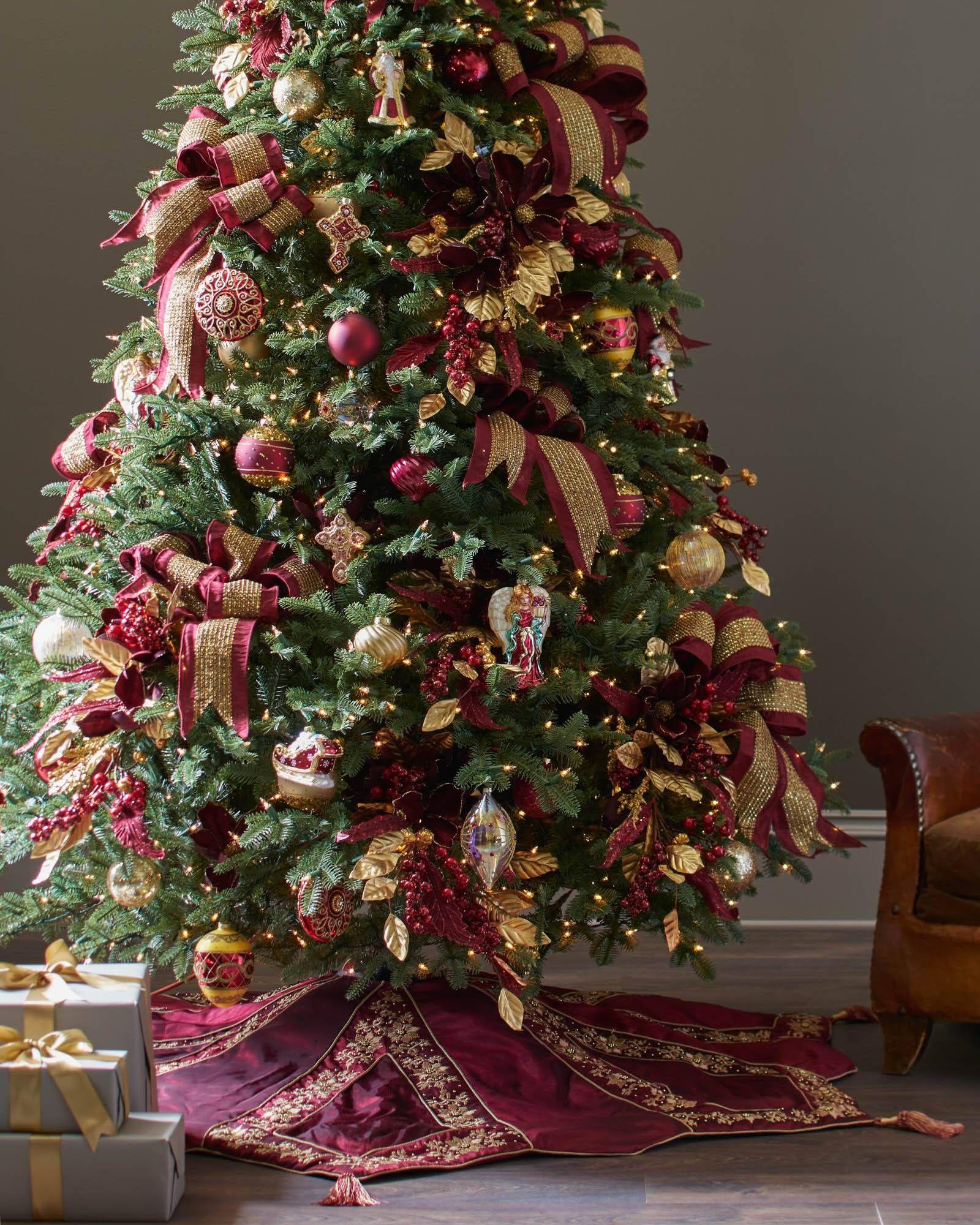 Burgundy and Gold Christmas Tree Skirt  Balsam Hill  Christmas