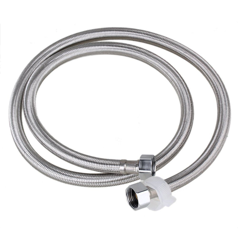 1 2m Length 19mm Inner Dia Thread Silver Stainless Steel Braided Hose Washing Machine Connector Water Heaters Hose Replaceme Braided Hose Water Heater Plumbing