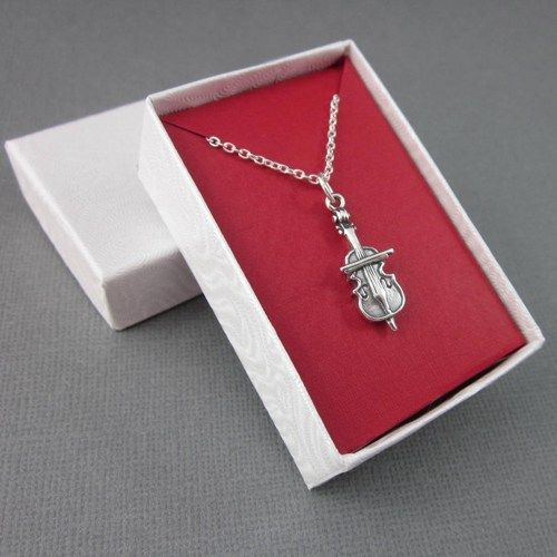 Sterling Silver Cello Charm Necklace Dimensional With Chain Gift ...