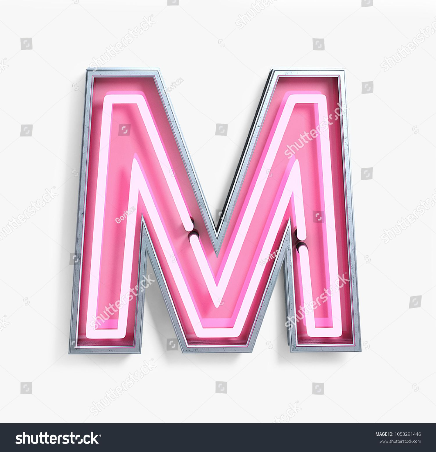 Bright Neon Font with fluorescent pink tubes. Letter M