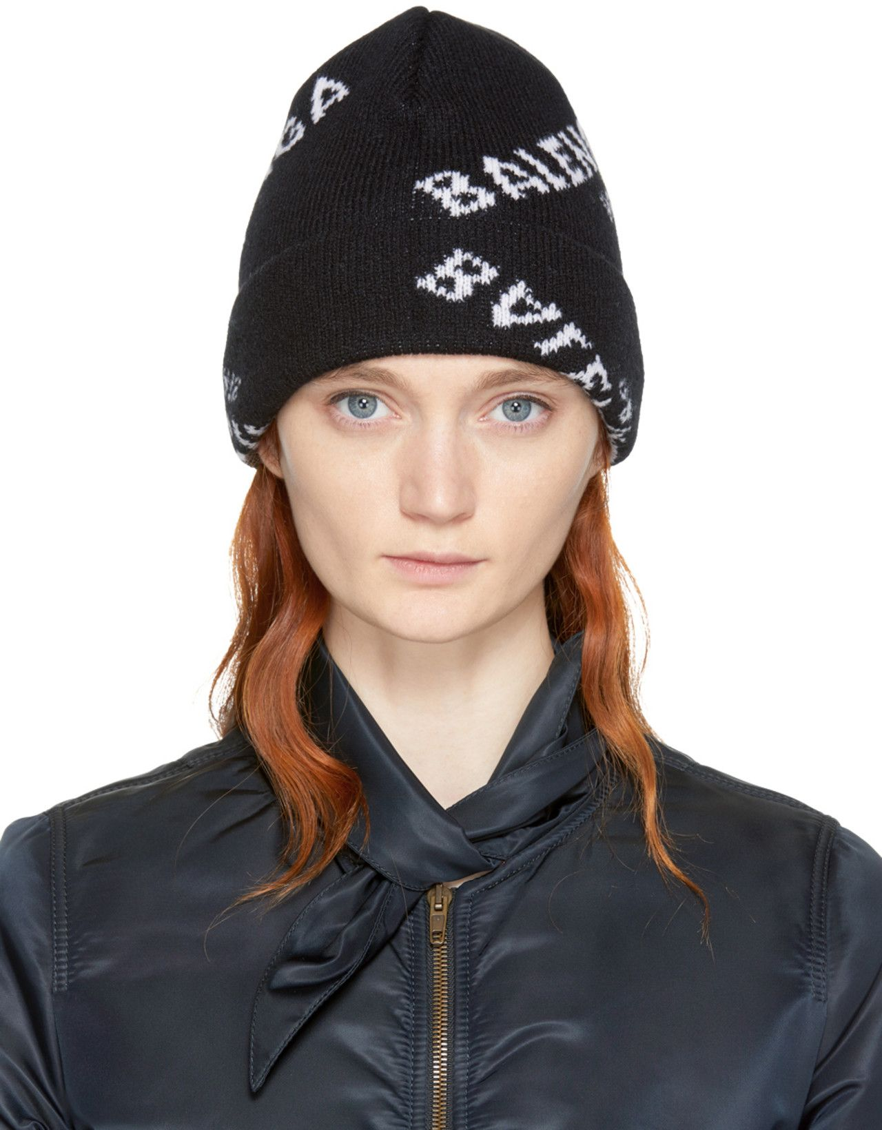 6842bbf748c Balenciaga - Black All Over Logo Beanie