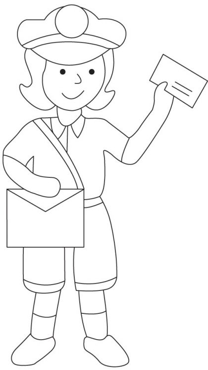 Postman coloring page Mailman crafts, Coloring books