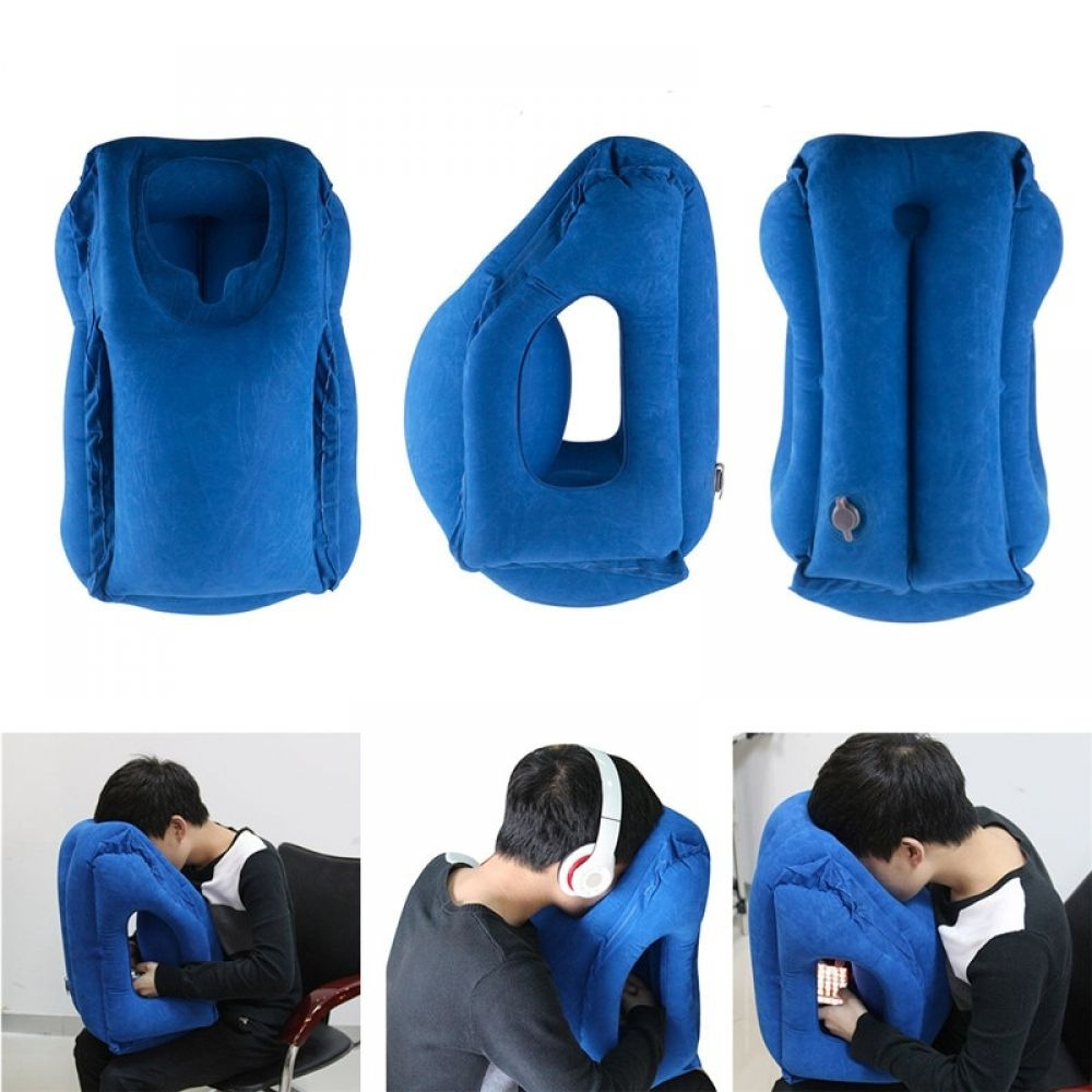 Inflatable Flight Travel Pillow Air Filled Airplane Neck Support Sleep Foldable