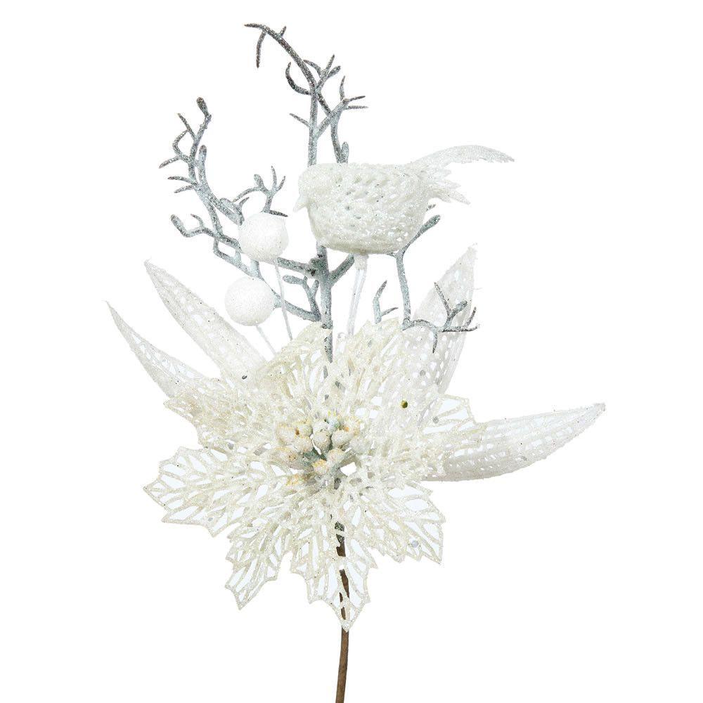 Poinsettia and Bird Decorative Christmas Pick