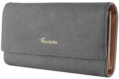 Travelambo Womens Wallet Faux Leather RFID Blocking Purse Credit