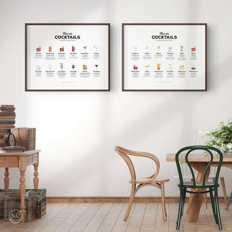 Photo of Classic Cocktails Recipe Print Set, Cocktail Print, Cocktail Art, Bar Poster, Cocktail Gift, Cocktail How To, Kitchen Art, Kitchen Decor