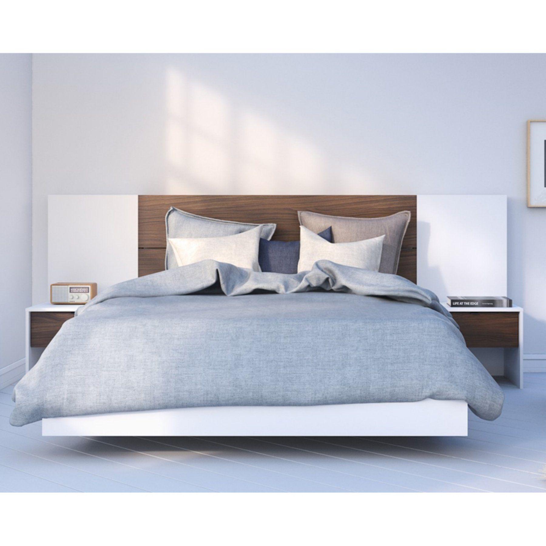 Nexera Celebri T Plank Effect Platform Bed With Headboard Extension Panels