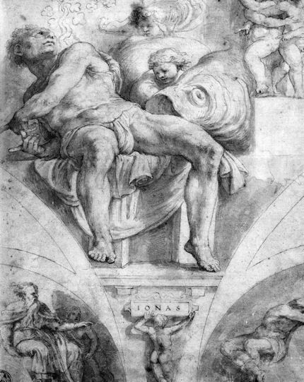A copy of Michelangelo's Prophet Jonah. This wash drawing by Giulio Clovio and owned by Rugby School of Art, England, is the single most compelling and illuminating indication of the nature of the restoration injuries to Michelangelo's Sistine ceiling.  27 May 2013 | Artwatch
