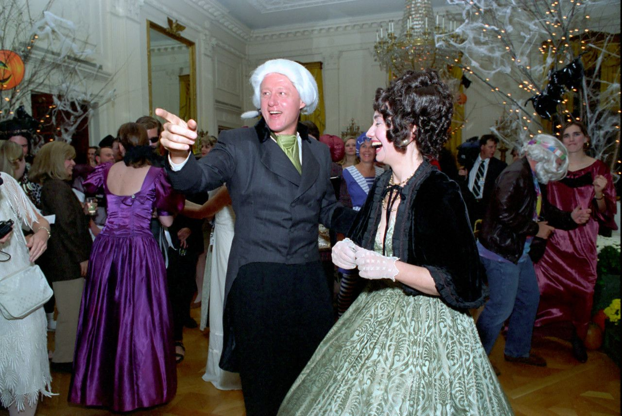 Bill and Hillary dressed as James and Dolley Madison. 1993 White ...