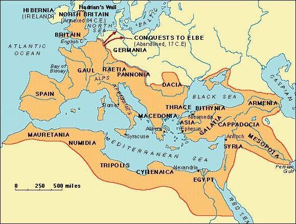 Map Of Roman Empire In English