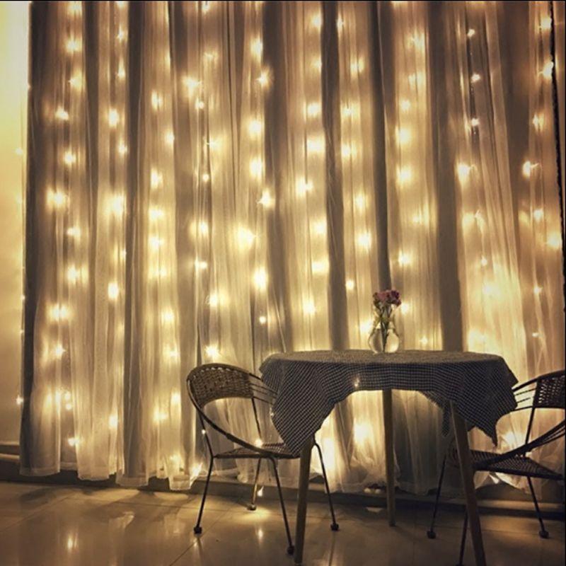 US//EU Plug 3M 304 LED Window Curtain String Fairy Lights Wedding Party Useful