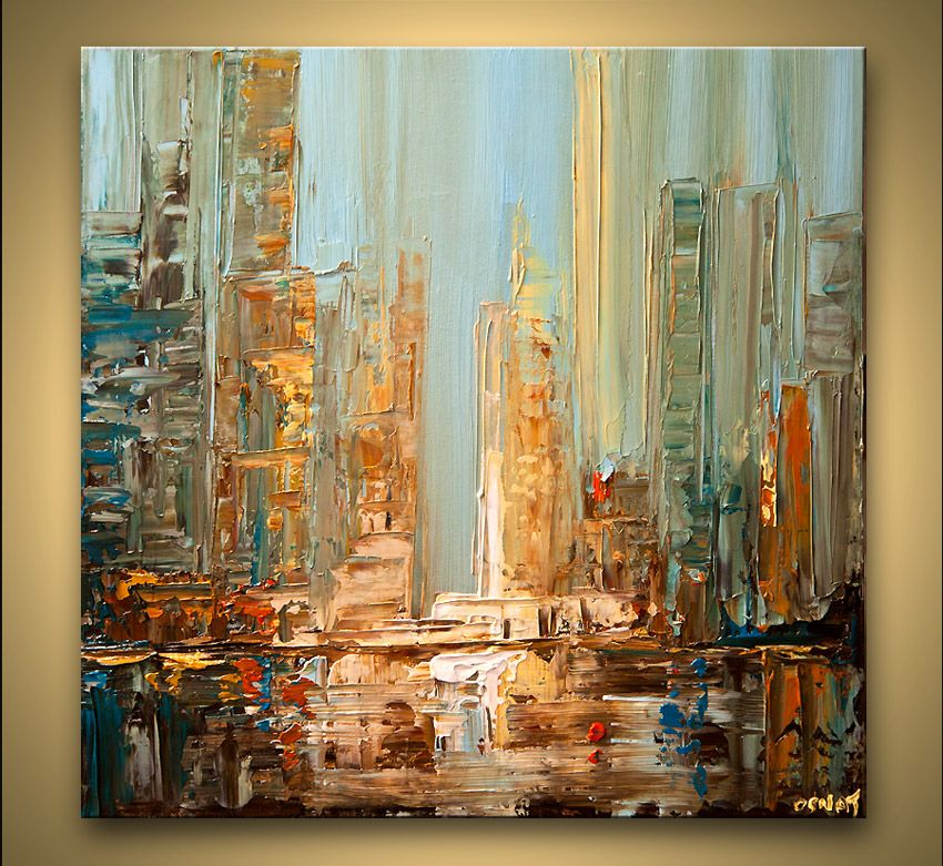 city abstract painting blue brown textured skyscrapers abstract ...