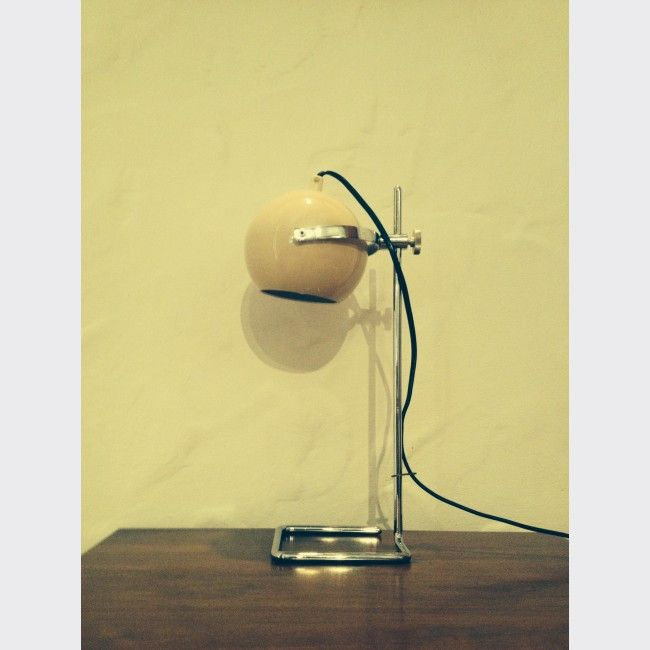 lampe eyeball italienne de bureau des ann es 70 m tal gris bon tat vintage 13894. Black Bedroom Furniture Sets. Home Design Ideas