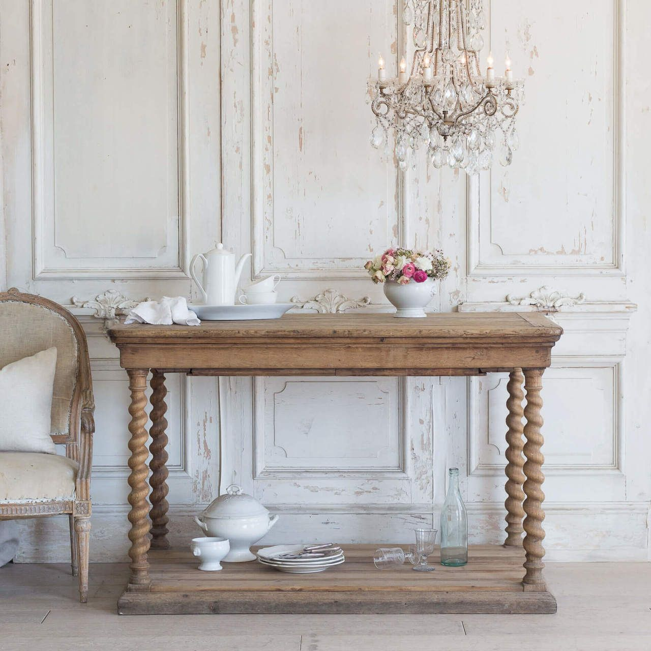 Eloquence Antique French Oak Wood Drapery Table Tvp09046 55 W 44 H 35 D Natural Wood Console Table Small Console Tables Antique Table