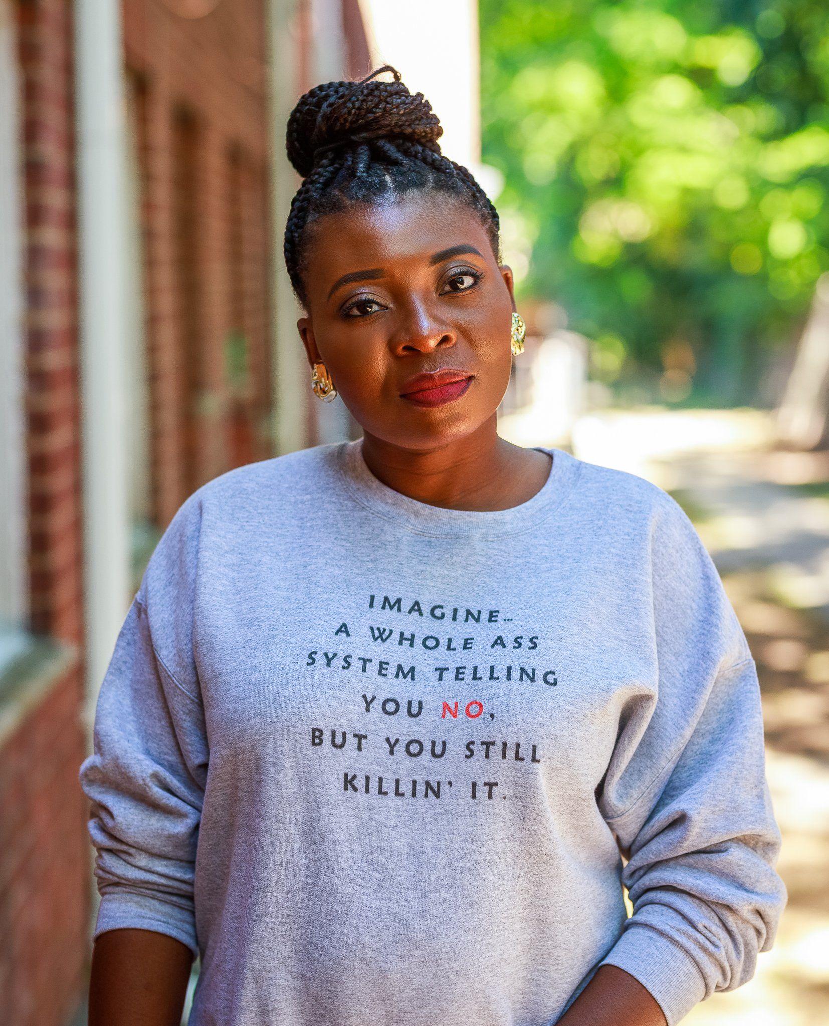 Imagine A System Crewneck Sweatshirt Crew Neck Sweatshirt African Print Fashion Dresses Sweatshirts [ 2048 x 1654 Pixel ]