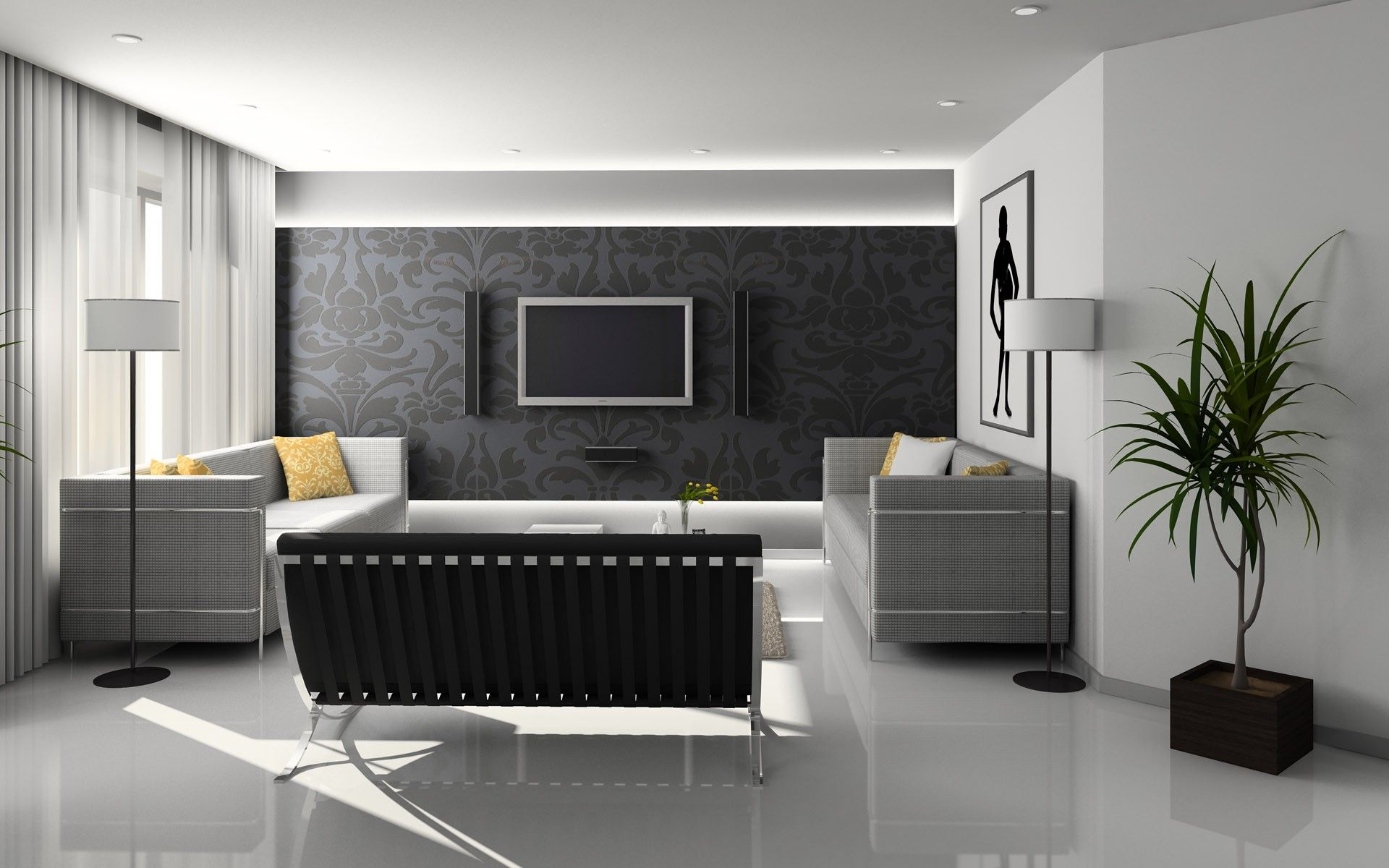 Black Feature Wall Adds Drama · Interior Design ...