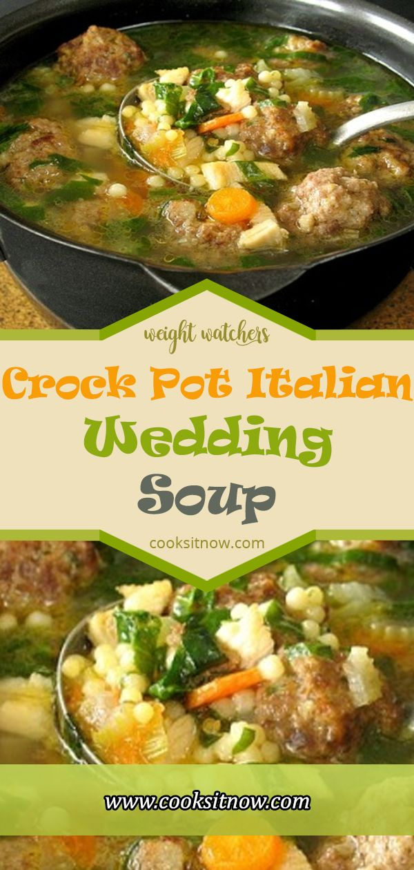 Crock Pot Italian Wedding Soup. When it rains all day the only thing I want for dinner is a nice hot bowl of homemade soup. I love having a pot of soup cooking away all day on the stove if I don't have anywhere to go. I love the comforting smell drifting throughout the house and welcoming everyone home.   #crockpot #soup #crock #pot #italian #wedding #soup #italianweddingsoup