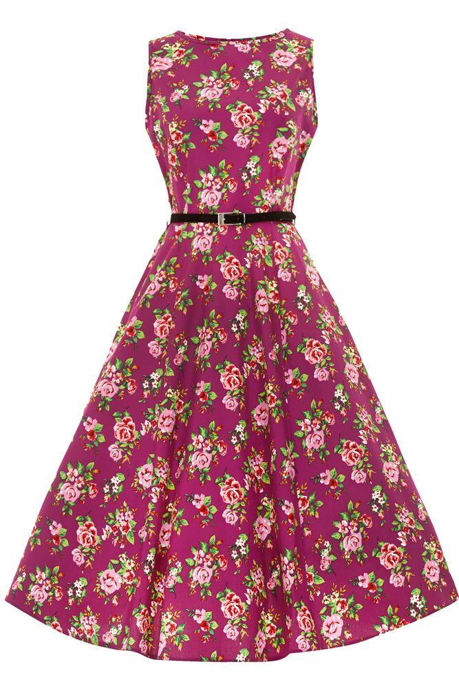 Lady Vintage Damson Berry Floral Hepburn Dress Pin Up Rockabilly ...