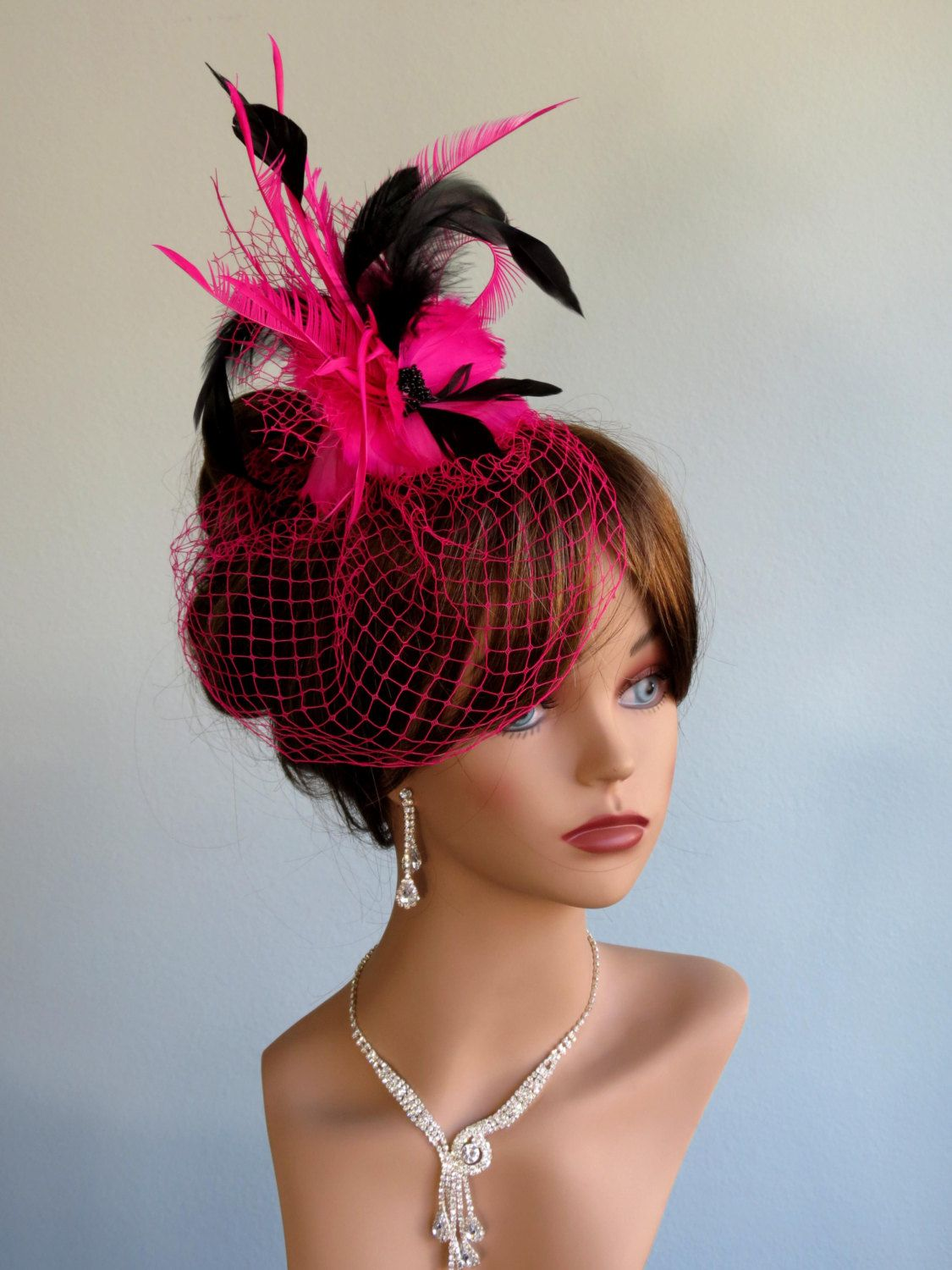 41adc44ccf4f1 Hot Pink Wedding Hair Clip With Pink Bridal Birdcage Veil - Fascinator -  Wedding Accessory-Feathers.  57.00