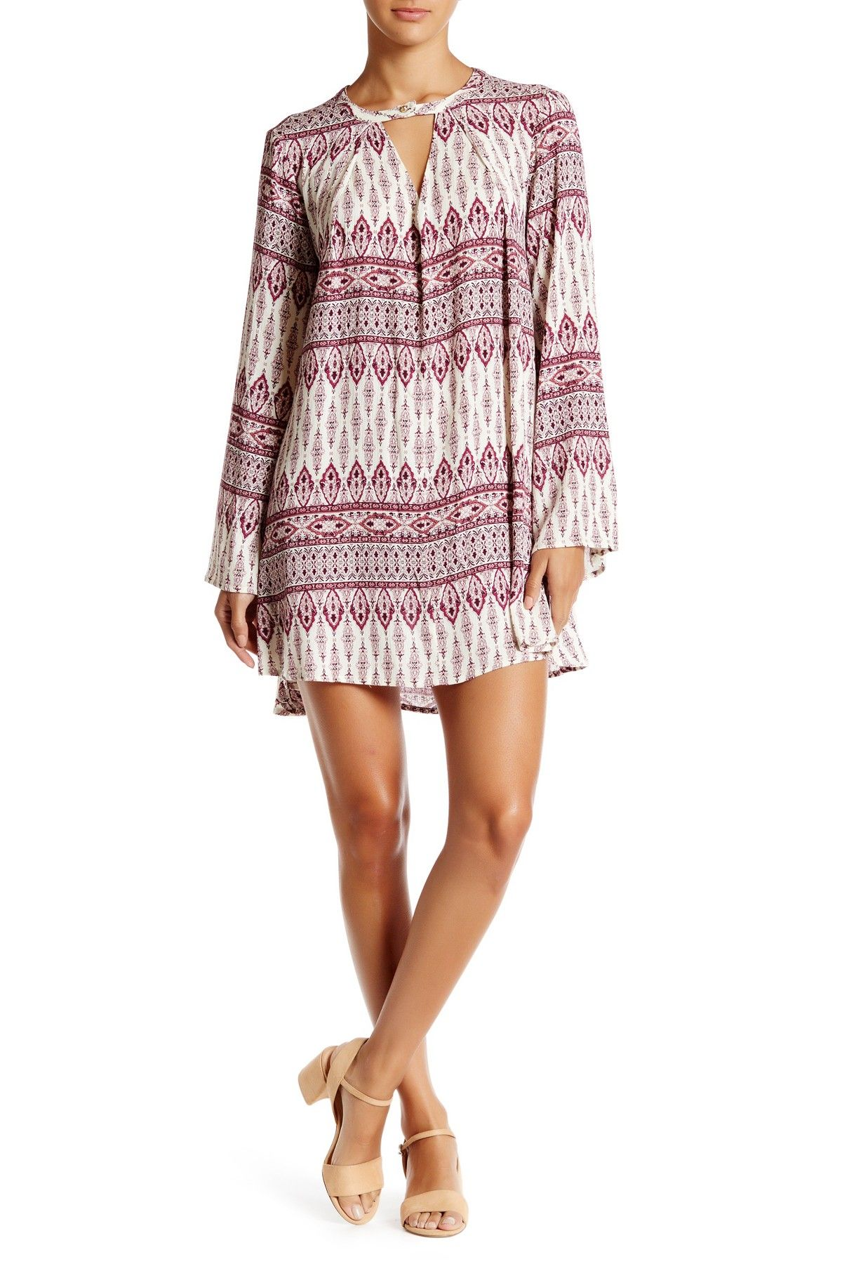 472f0aaf5 En Creme - Printed Bell Sleeve Tunic Dress at Nordstrom Rack. Free Shipping  on orders over  100.