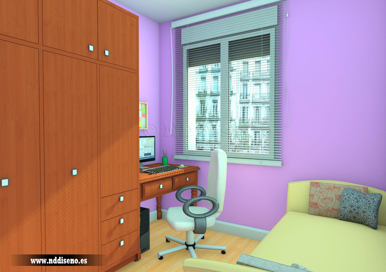 Infografía 3d de dormitorio para piso reformado en Madrid  www.nddiseno.es