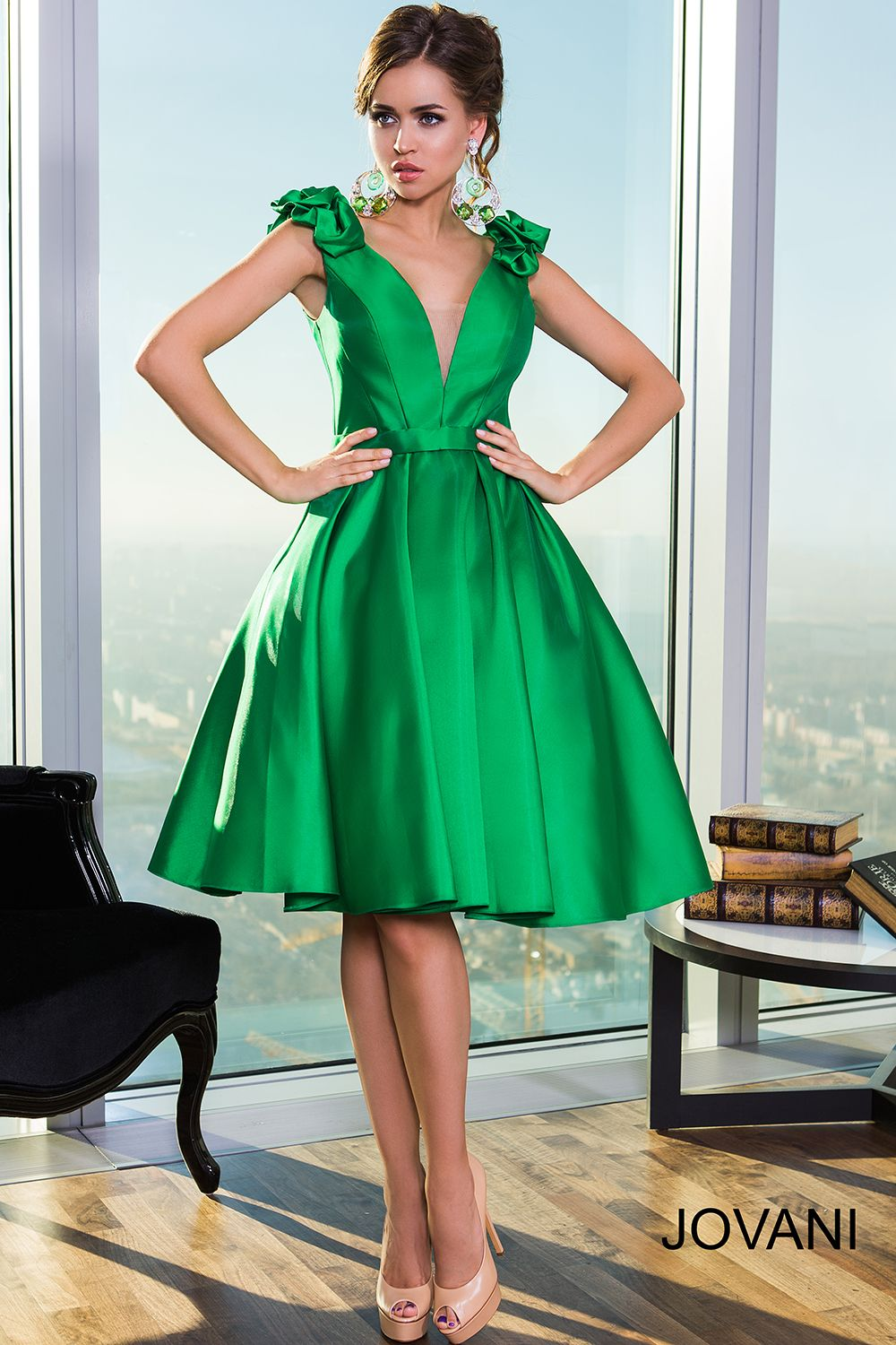 Bottle green prom dress  Sleeveless Fit and Flare Short Dress   cloth  Pinterest