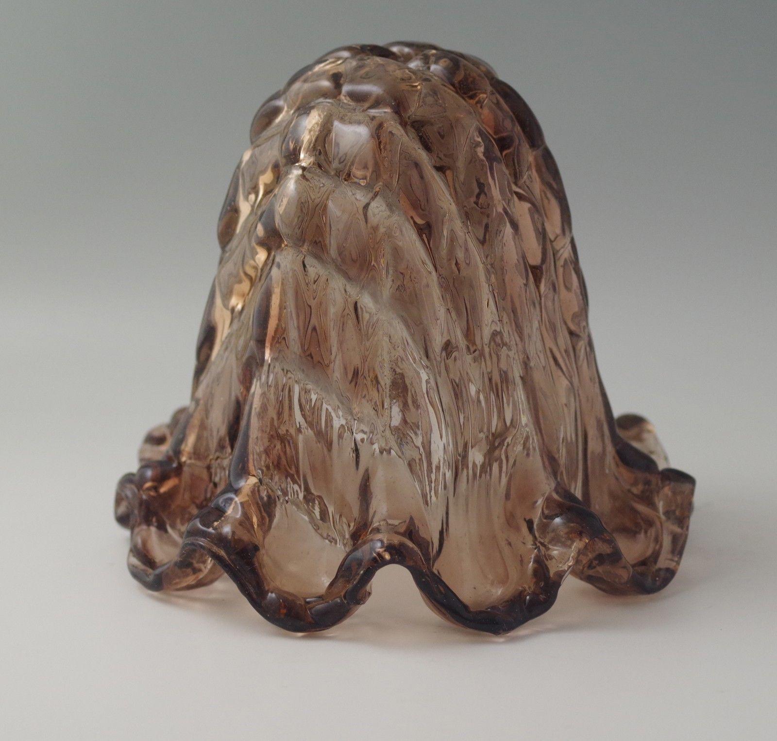 -YELLOW AMBER-LATTICE s VTG SEGUSO MURANO GLASS ITALY LAMP SHADE