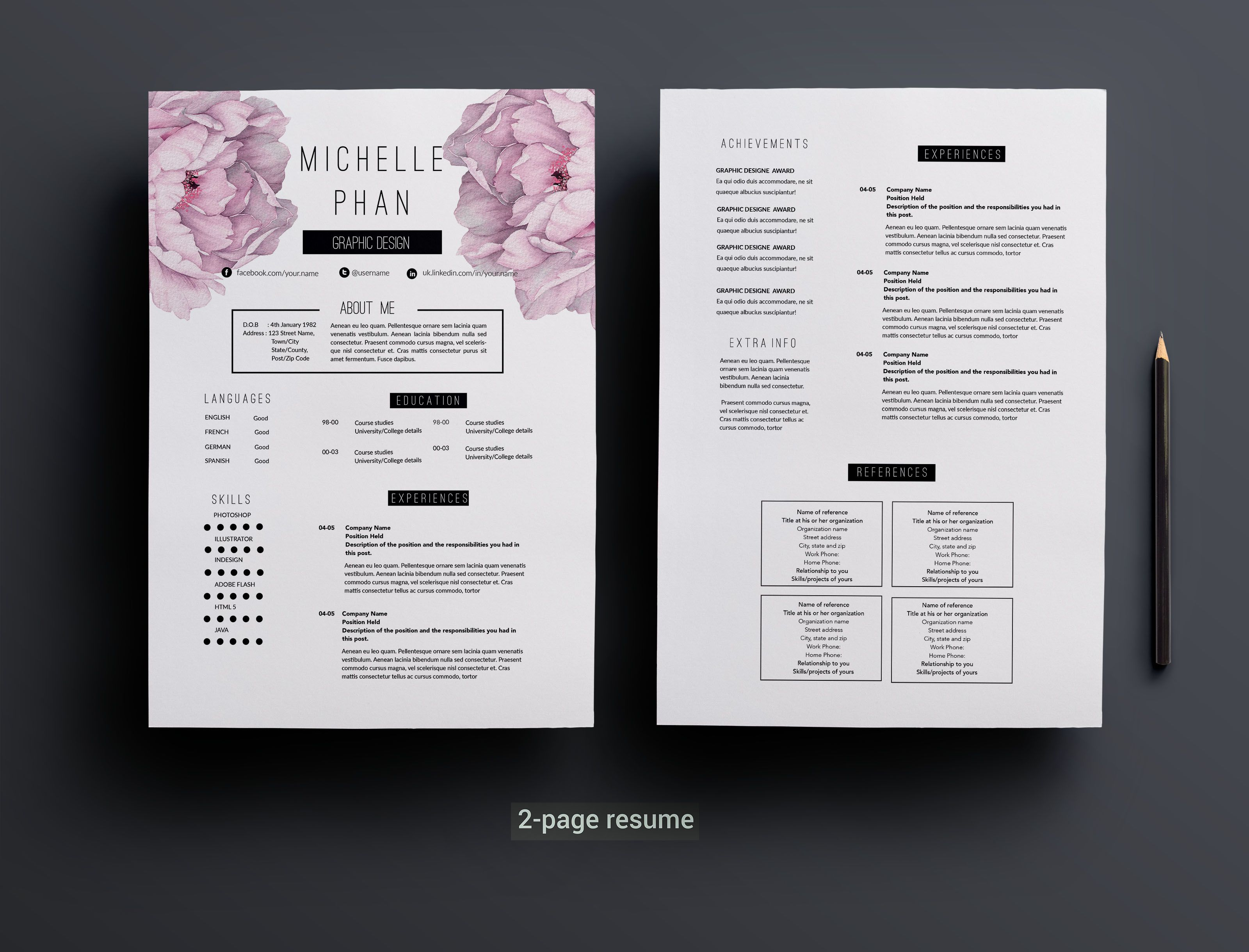 2 page resume template +cover letter by Chic templates on ...