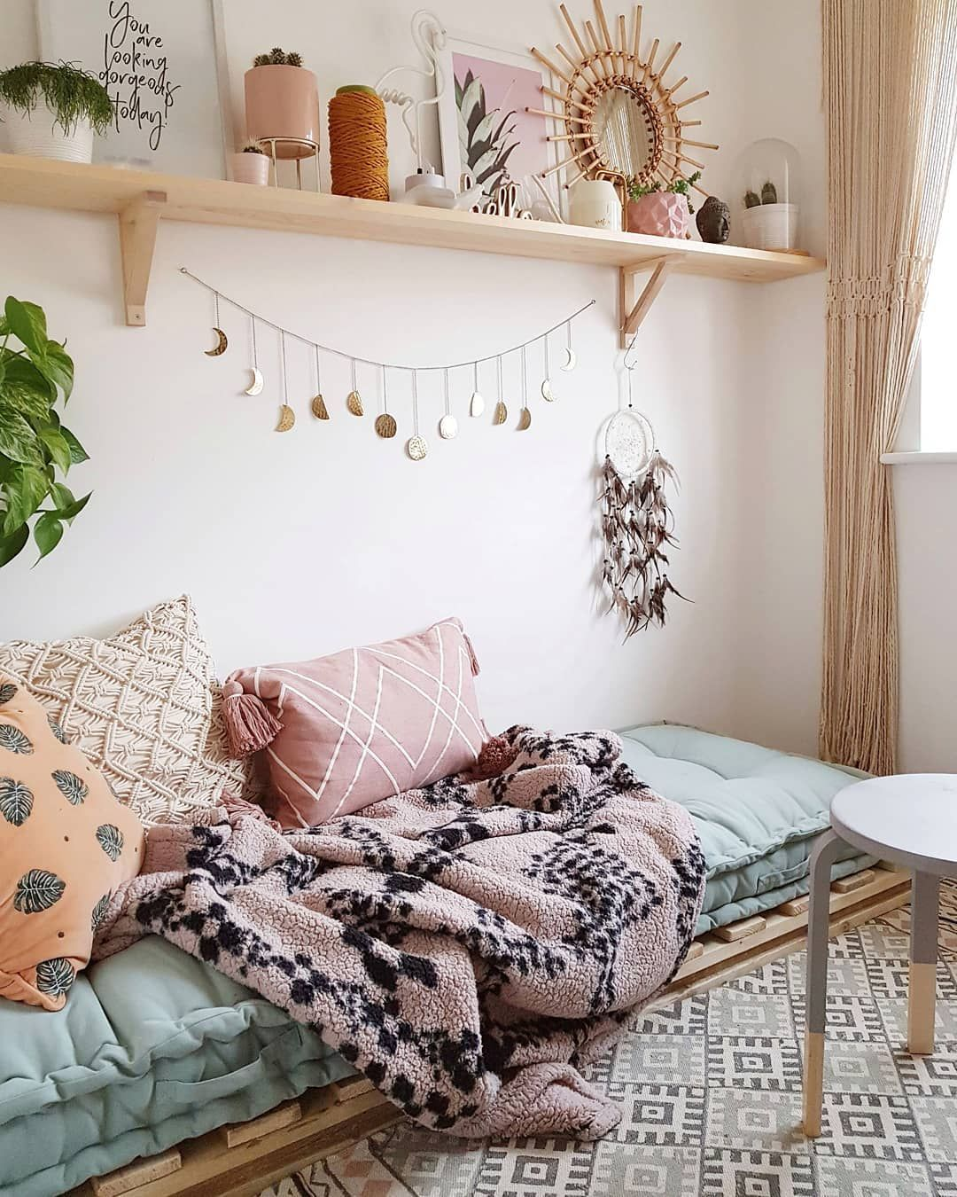 Boho Bedroom with daybed floor mattress - moon banner - urban