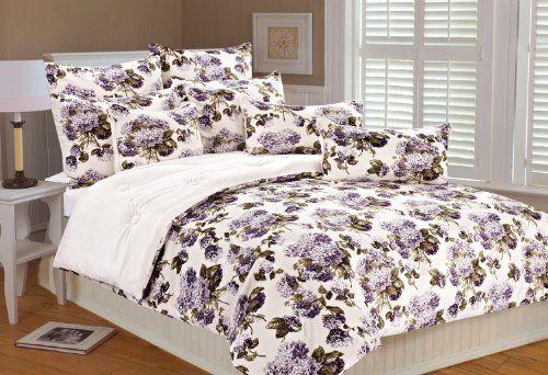 Marlo Lorenz 4898 Hydrangea Microplush Comforter Set, Pur