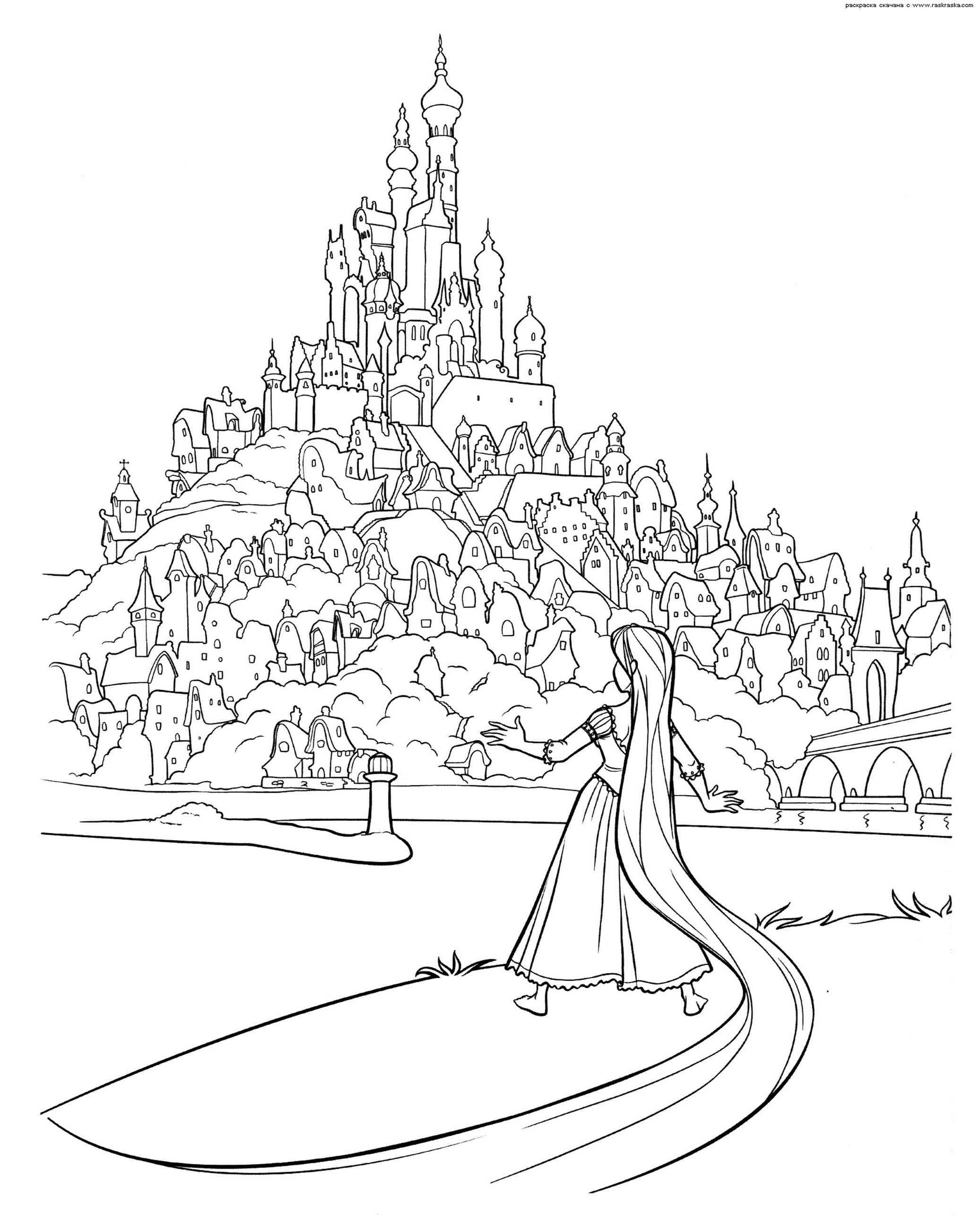 Walt Disney Ausmalbilder Rapunzel Neu Verföhnt : Advanced Coloring Pages Of Castle From Disney Rapunzel Coloring