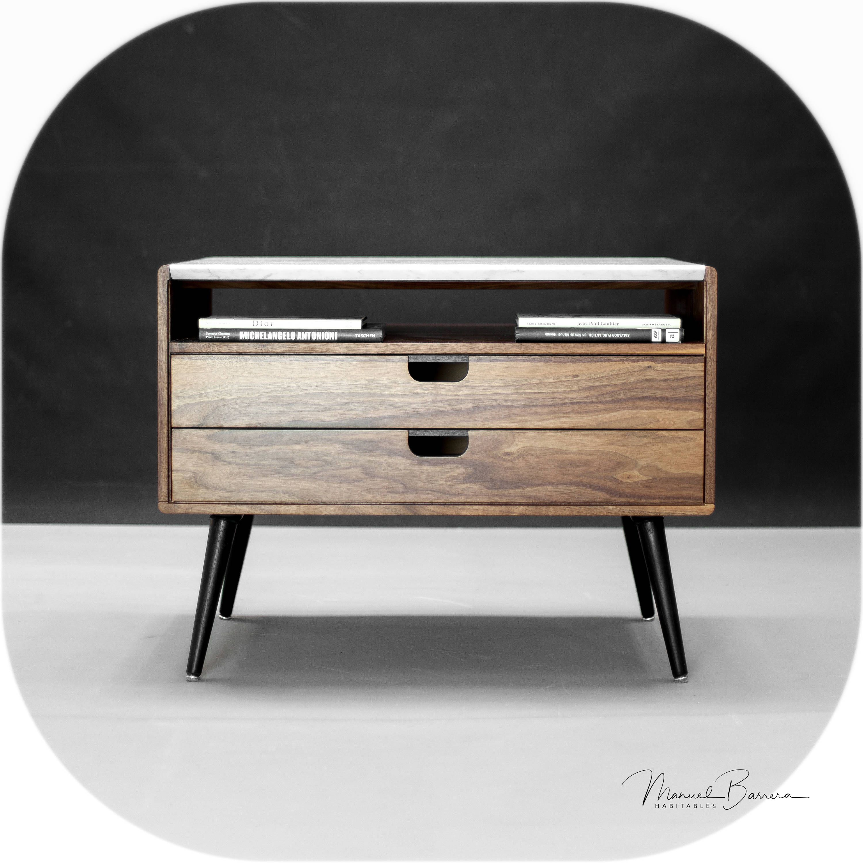 Marble and walnut Nightstand / Bedside Table By Habitables   Bedroom ...