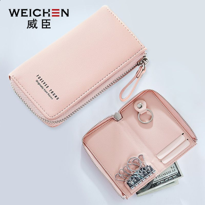 Weichen Nogleringe Tegneboger Kvinder Solid Lynlas Pu Tasker Kort Holder Casual Purse For Girls Multifun Wallets For Women Leather Keychain Wallet Casual Purse