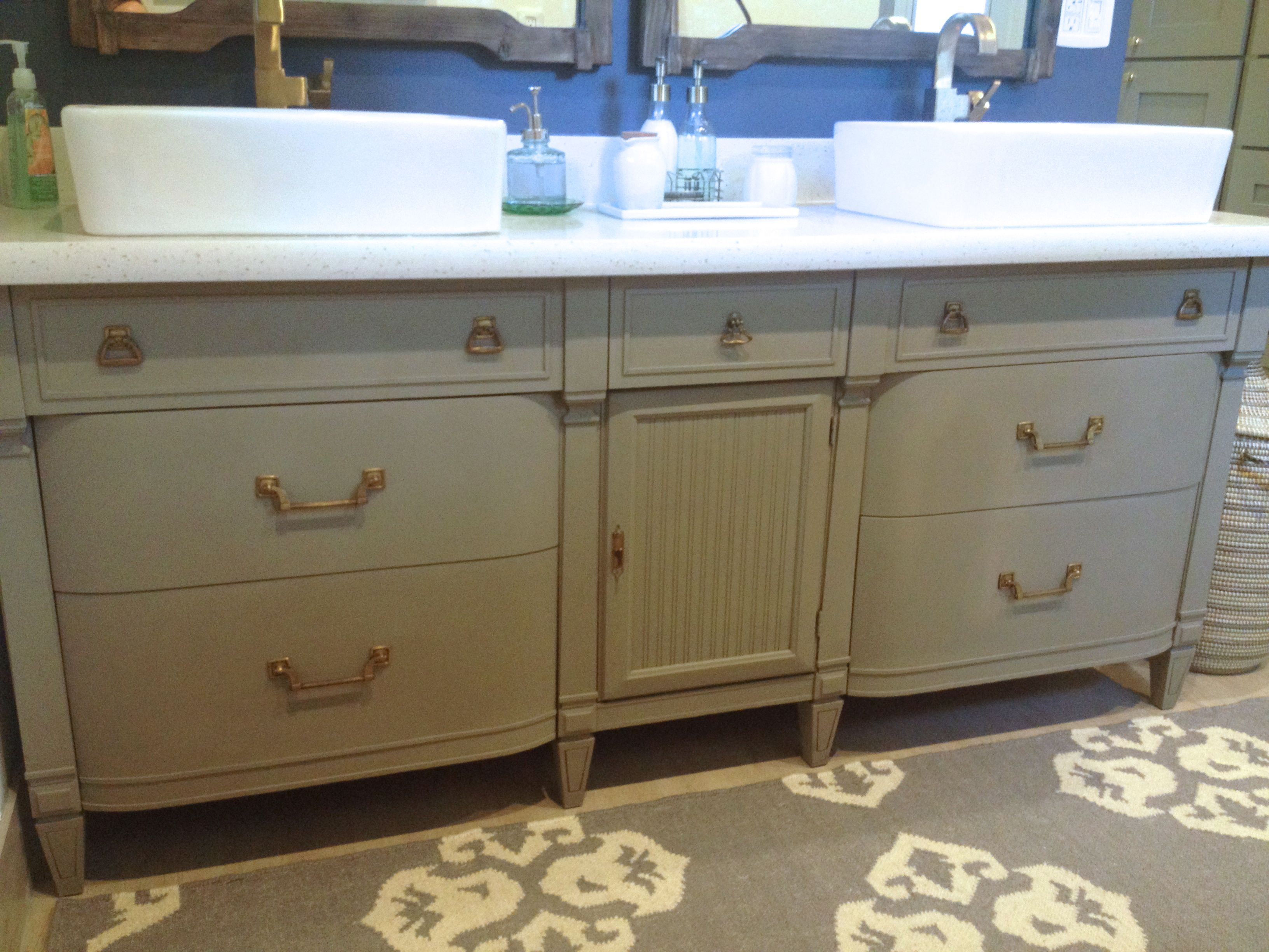 After   Annie Sloan Chalk Paint French Linen   Dresser Turned Into Bathroom  Vanity. Gray