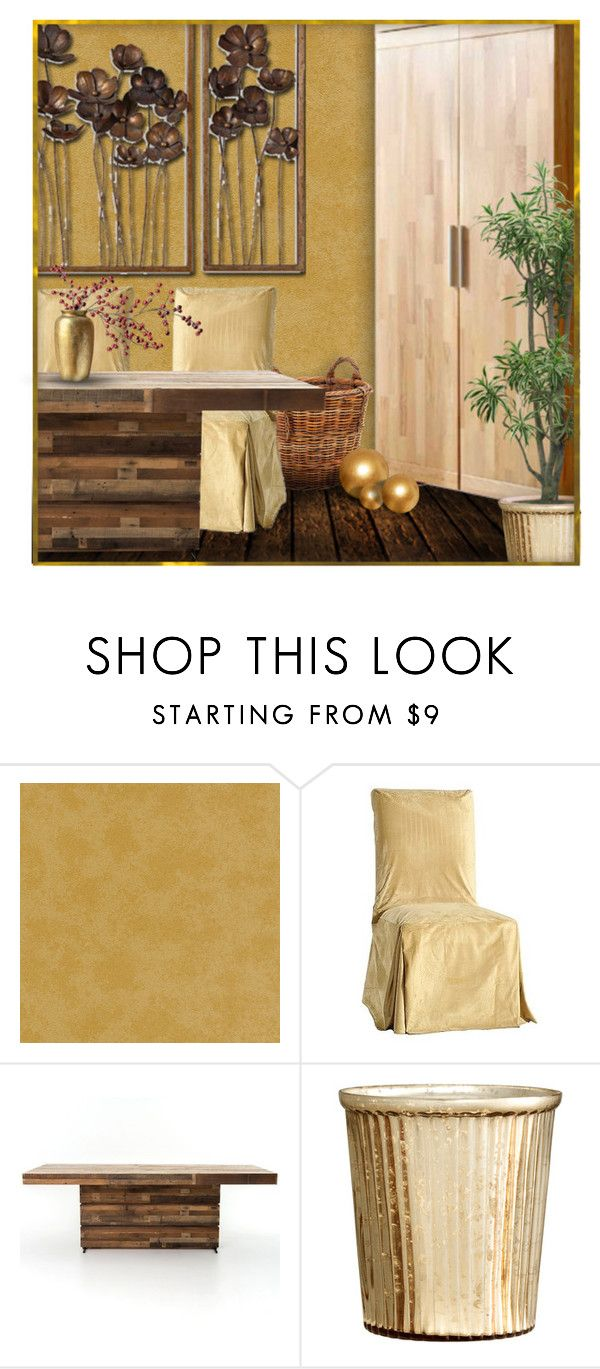 """Golden Dining"" by retrocat1 ❤ liked on Polyvore featuring interior, interiors, interior design, home, home decor, interior decorating, Versace, Classic Slipcovers and H&M"