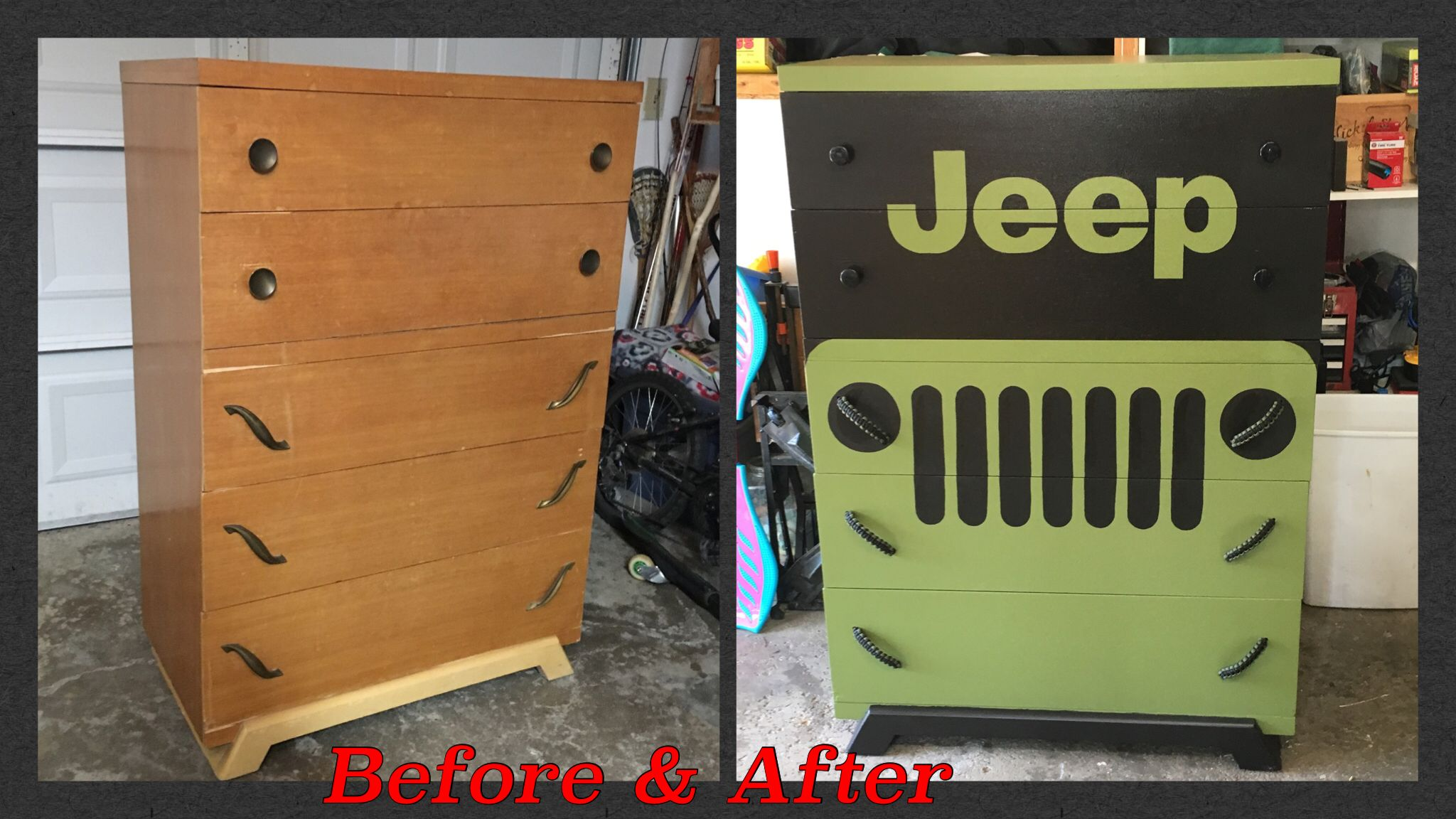 Jeep Dresser Hand Painted With Paracord Drawer Pulls