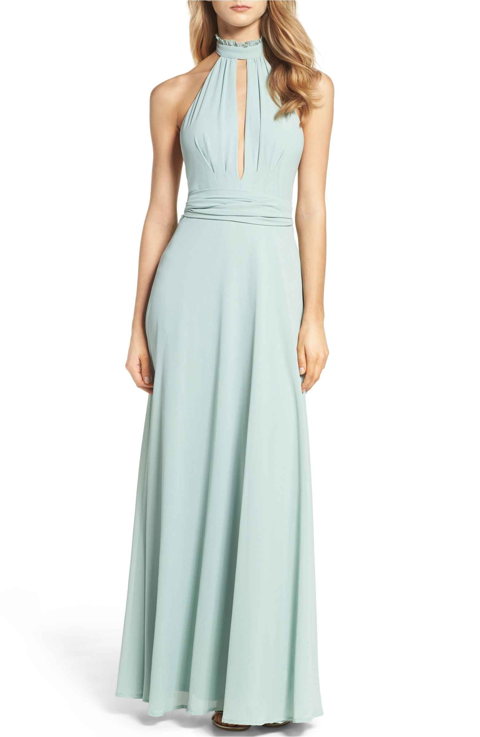 Ruffle Neck Halter Gown | Halter gown, Ruffles and Gowns