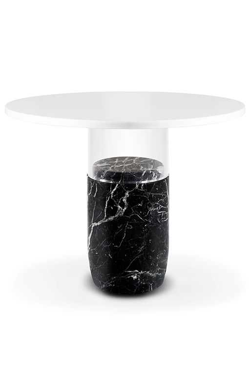 Laplace Fl 159 The Rubi Guéridon Table Materials Black Silk Marble Crystal White And Extra Gl Interior Dining In