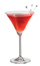 The PAMA Pine cocktail recipe brings together tropical flavors to make a great tasting cocktail. A red colored drink made from PAMA pomegranate liqueur, pineapple vodka and lime juice, and served in a chilled cocktail glass.