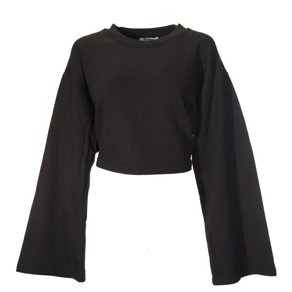 Black Wide Sleeves Crop Sweater ($410) ❤ liked on Polyvore ...