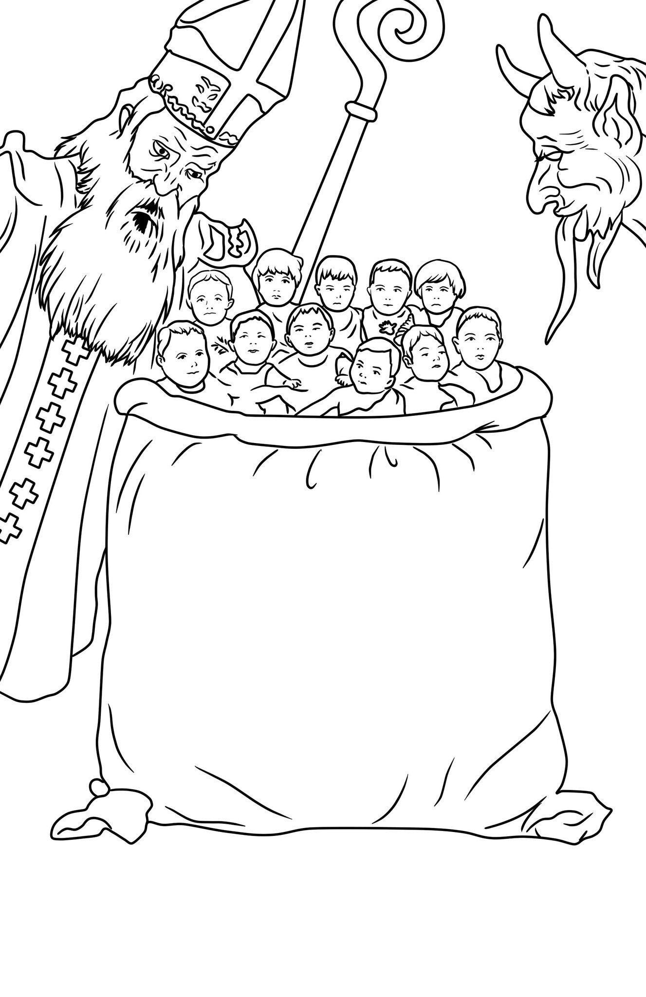 Ausmalbilder Nikolaus Mit Krampus : Krampus Christmas Fairytale Coloring Pages Pinterest