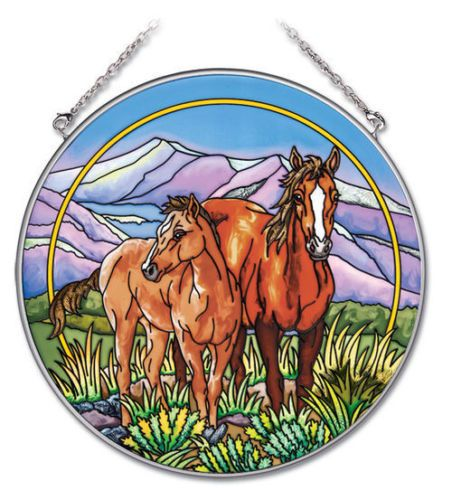 HORSES-Sun-Catcher-Mountains-Grass-AMIA-Hand-Painted-6-1-2-Round-High-Plains