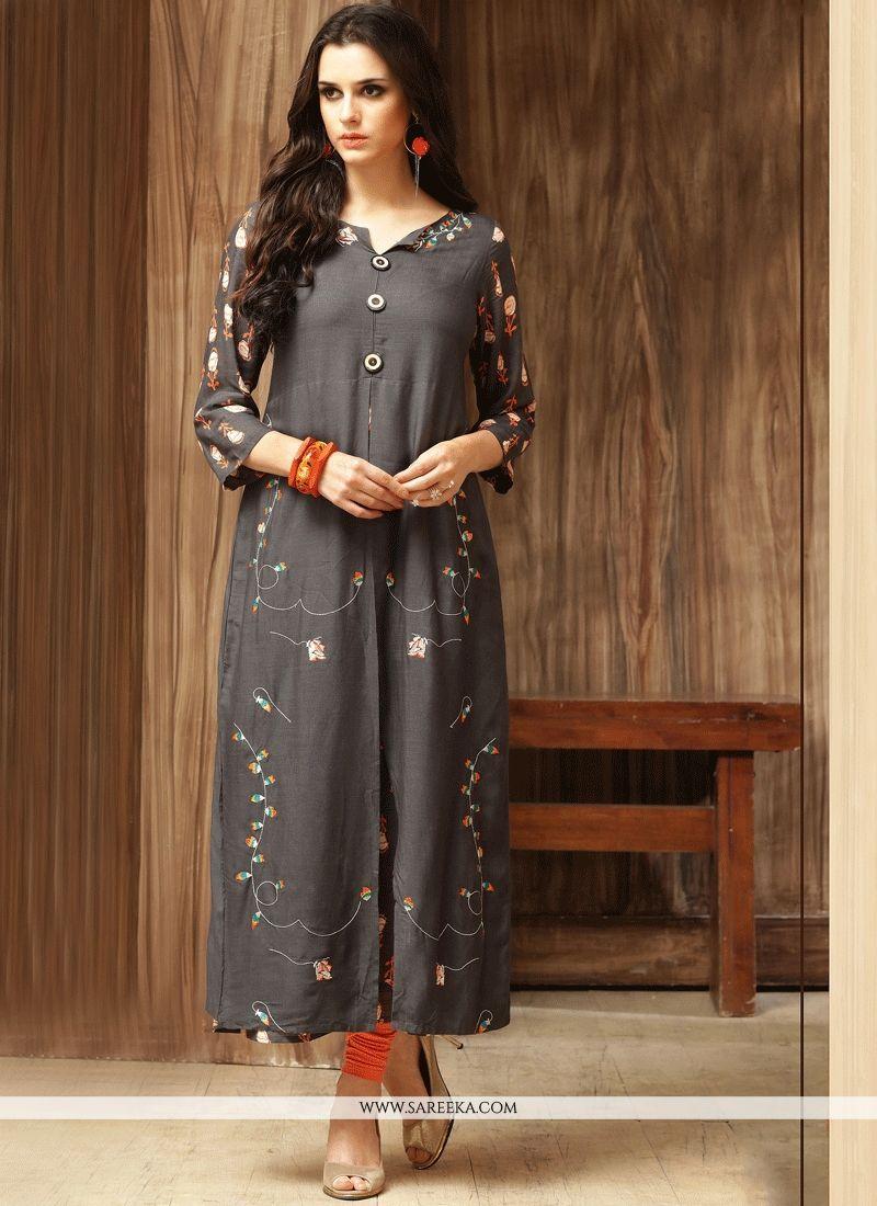 Print work grey cotton party wear kurti kurtis designs pinterest