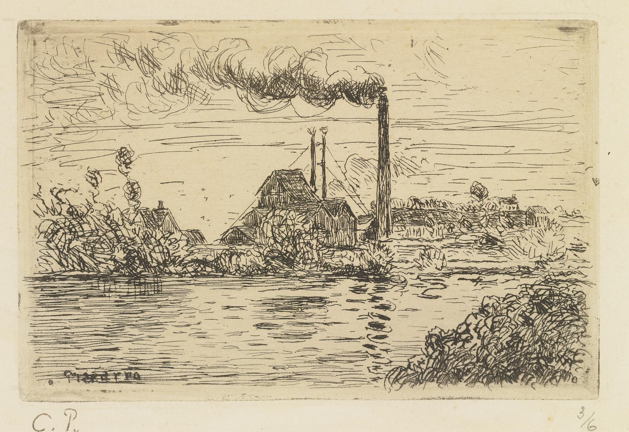 Camille Pissarro (1831-1903) Fabrique A Pontoise 1874 (136 by 210 mm)