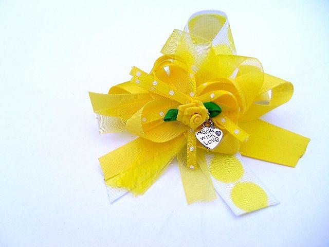 Retro geel haarelastiekje